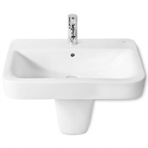 Roca Senso Square Basin With Semi Pedestal - 600mm - 1 Tap Hole - White